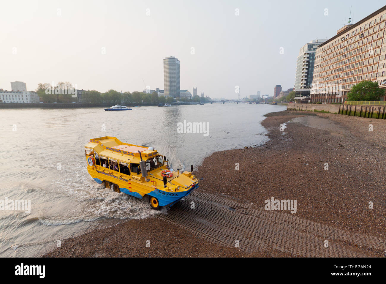 Duck Tours amphibious craft comes ashore at Vauxhall, London, England - Stock Image
