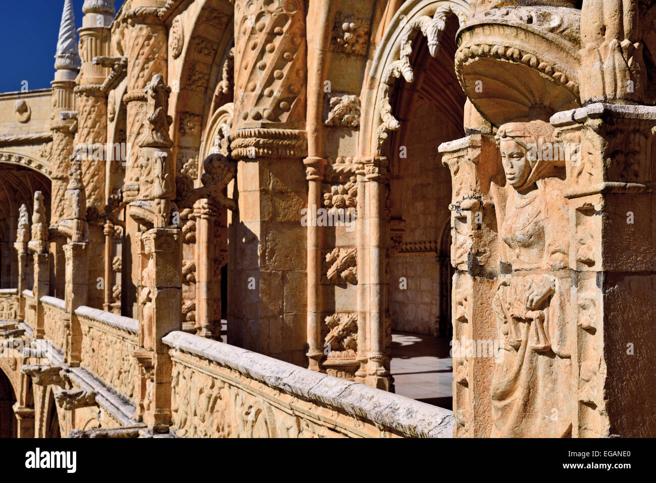 Portugal, Lisbon: Ornamented  architecture in the Cloister of World Heritage monastery Mosterio dos Jeronimos in - Stock Image