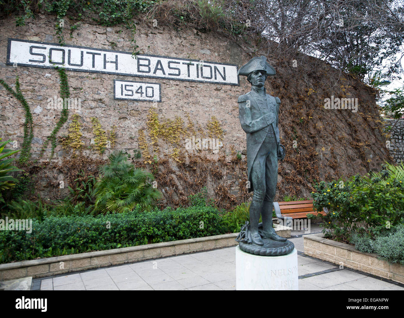 Statue of Admiral Lord Nelson at South Bastion, Gibraltar, Gibraltar, British territory in southern Europe - Stock Image