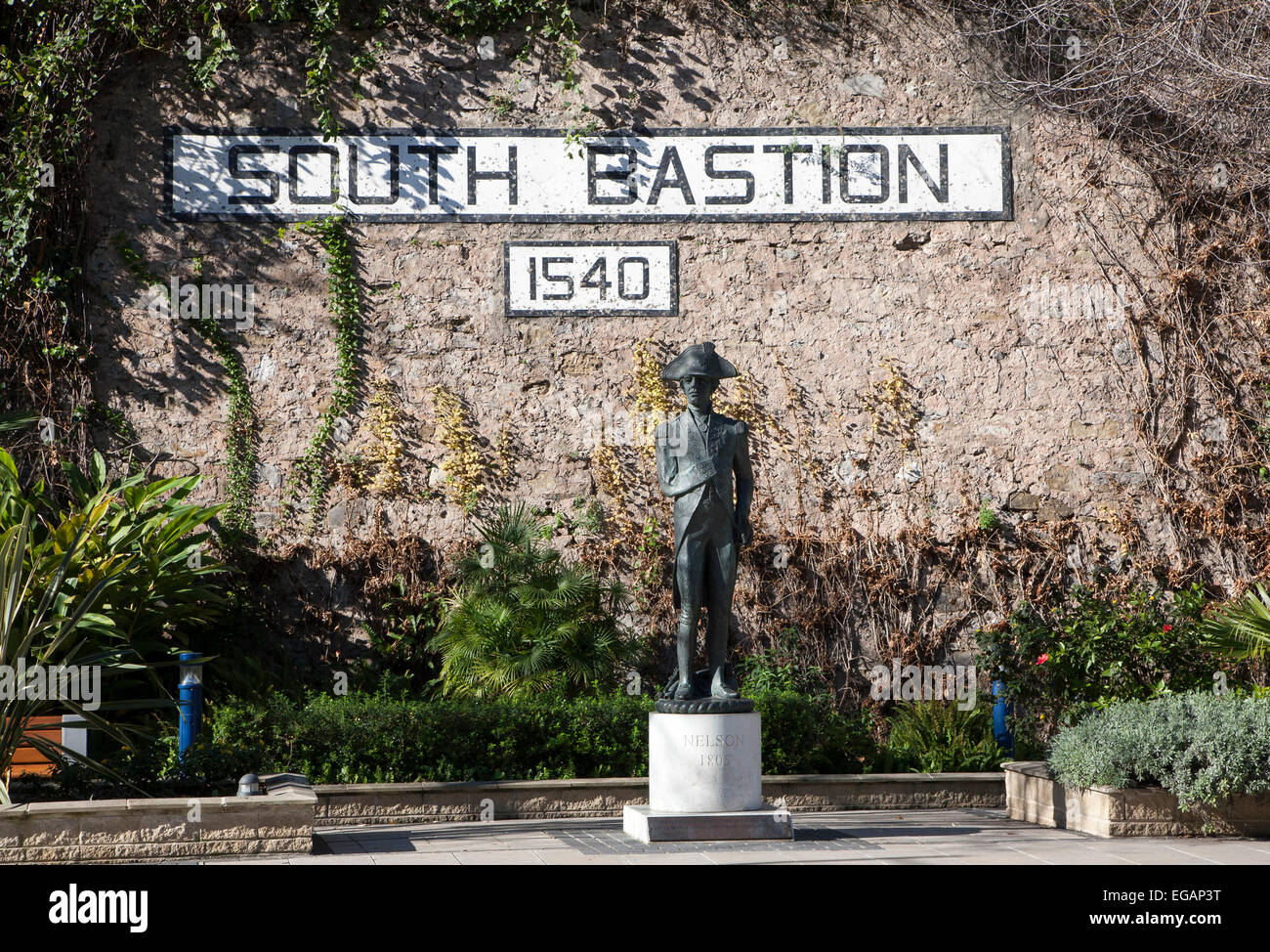 Statue of Admiral Lord Nelson at South Bastion, Gibraltar, British territory in southern Europe - Stock Image