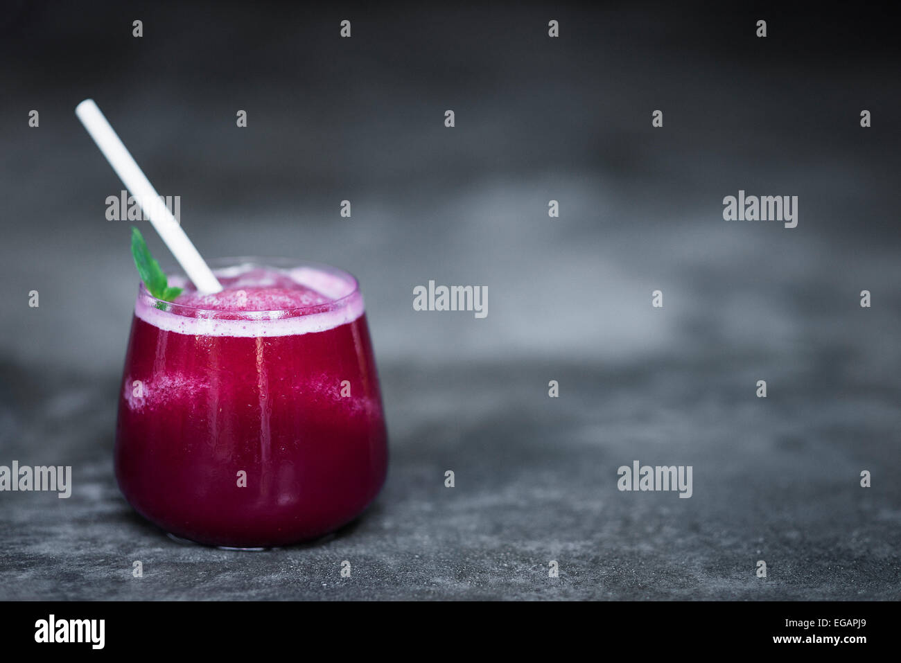 fresh beetroot juice in glass - Stock Image