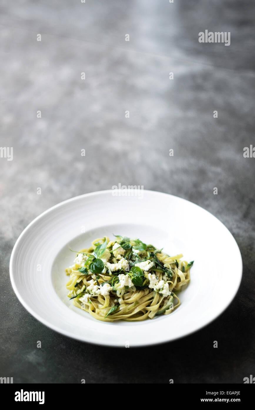 ricotta and herb tagliatelle pasta - Stock Image