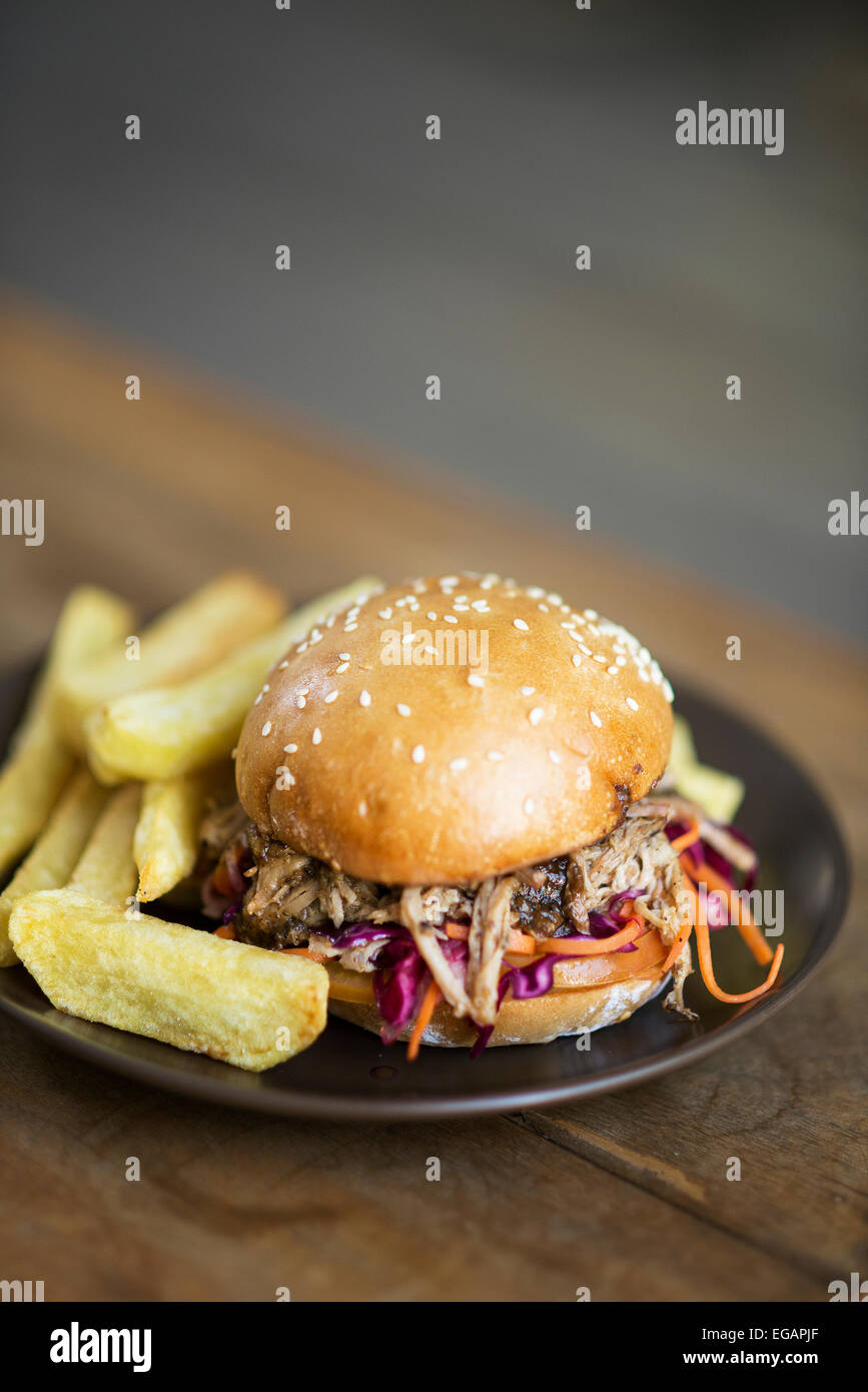 pulled pork and salad sandwich with fries - Stock Image