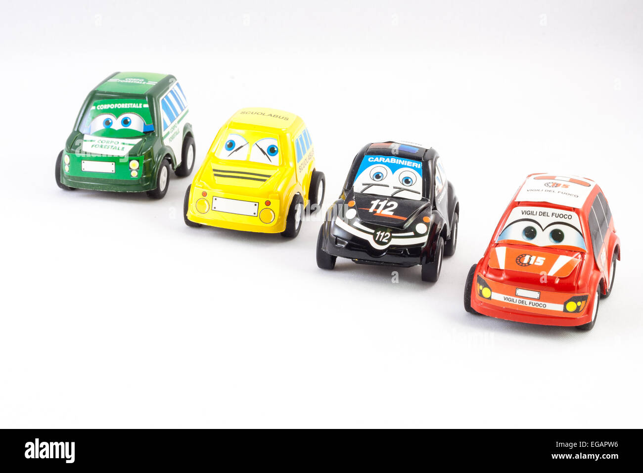 Several law enforcement small cars. Italian Police, Fireman, Ranger, Scuolabus - Stock Image