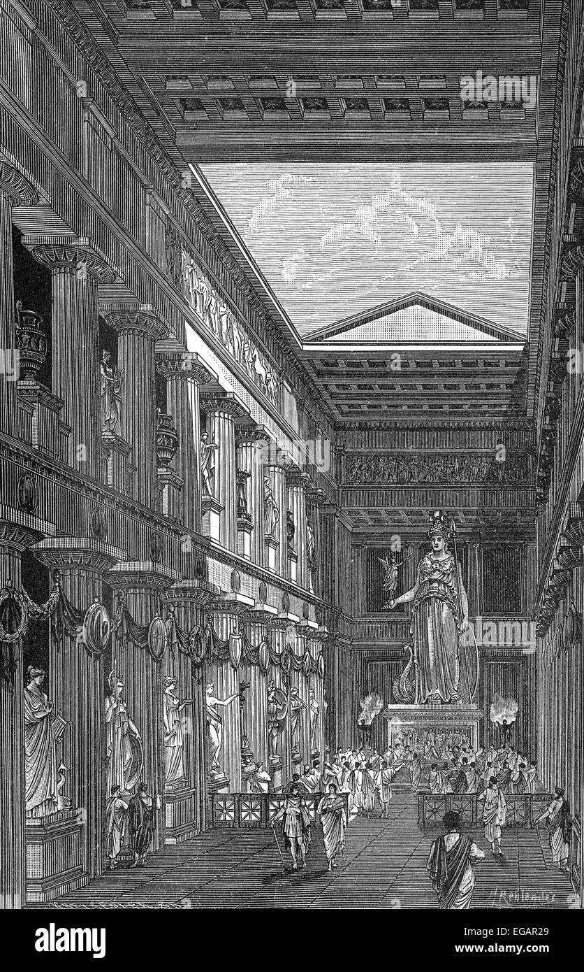 Reconstruction of the Parthenon-Temple, Interior view, dedicated to the Greek goddess Pallas Athena Parthenos on - Stock Image