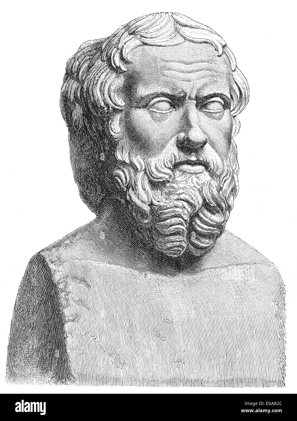 Herodotus of Halicarnassus, 490-480 BC - around 424 BC, an ancient Greek historian, geographer and ethnographer, - Stock Image