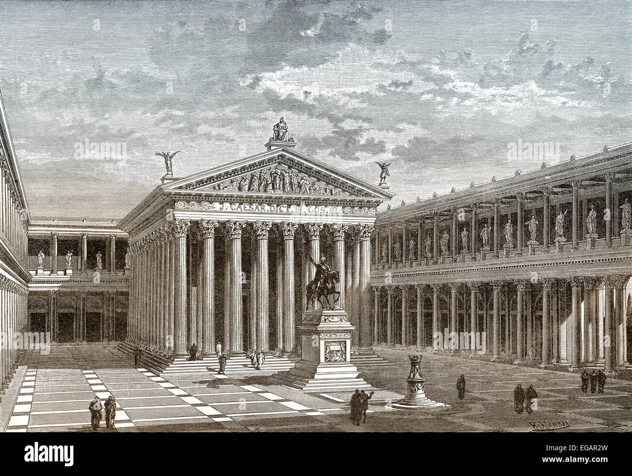 Reconstruction, the Forum of Caesar or Forum Iulium in ancient Rome, - Stock Image