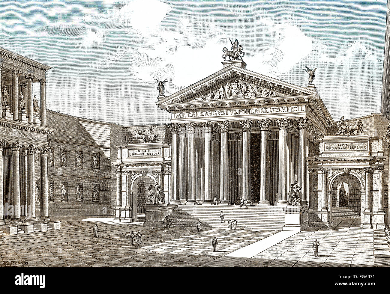 Reconstruction, the Forum of Augustus in ancient Rome, - Stock Image