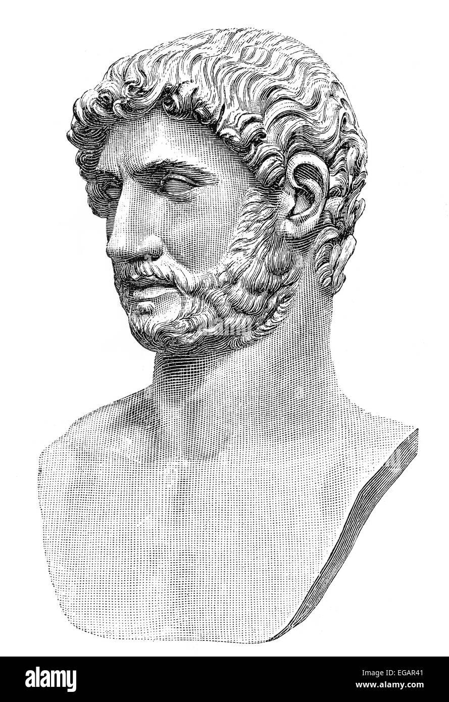 Hadrian or Publius Aelius Hadrianus Augustus, 76 - 138, Roman emperor from 117 to 138, - Stock Image