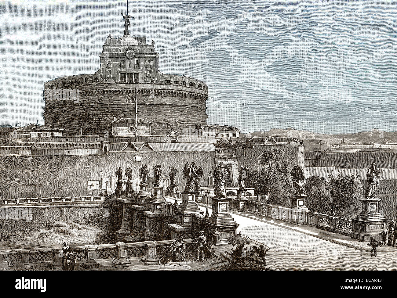 Mausoleum of Hadrian, known as Castel Sant'Angelo or Castle of the Holy Angel, ancient Rome, - Stock Image