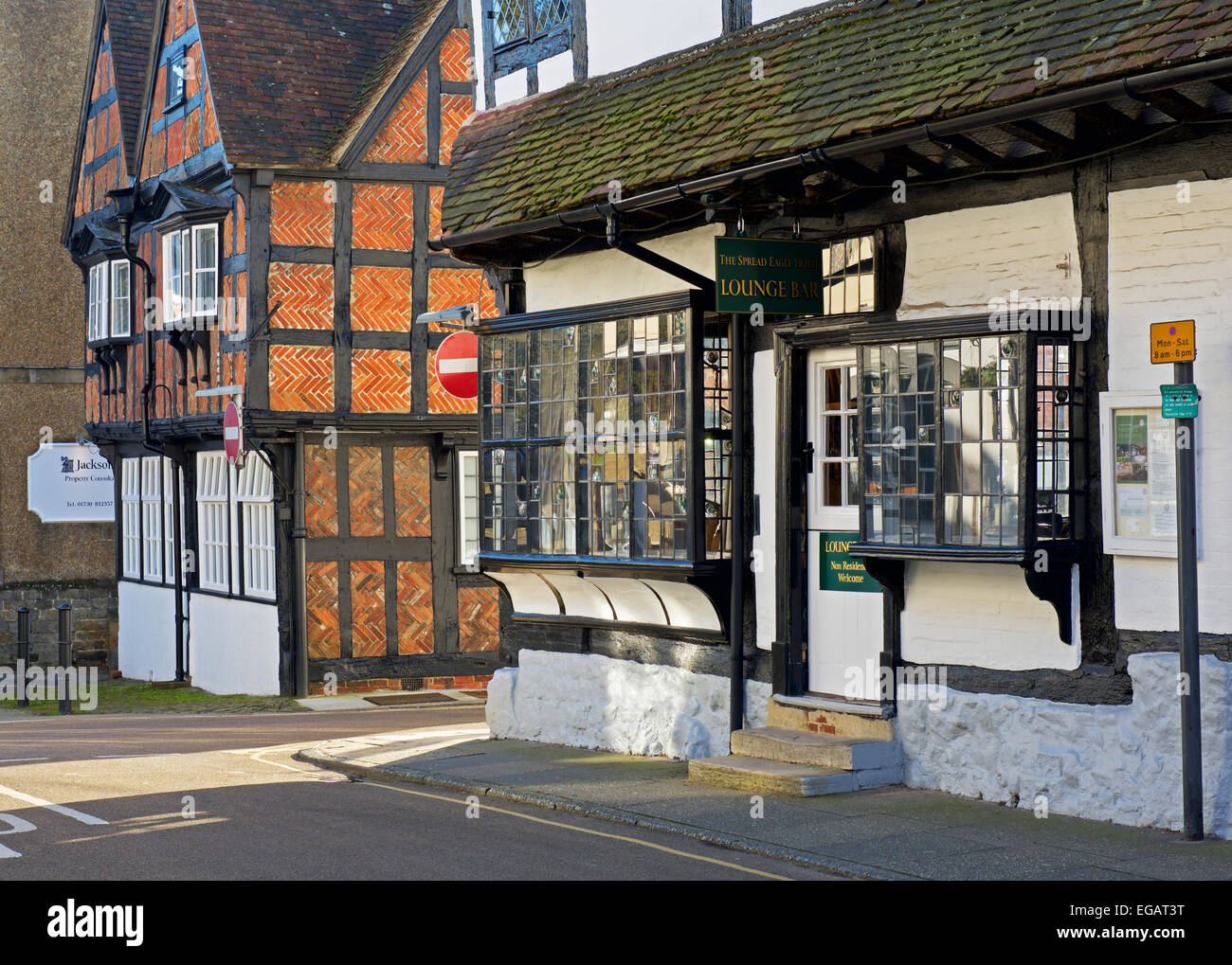 Street of half-timbered buildings in Midhurst, West Sussex, England UK - Stock Image