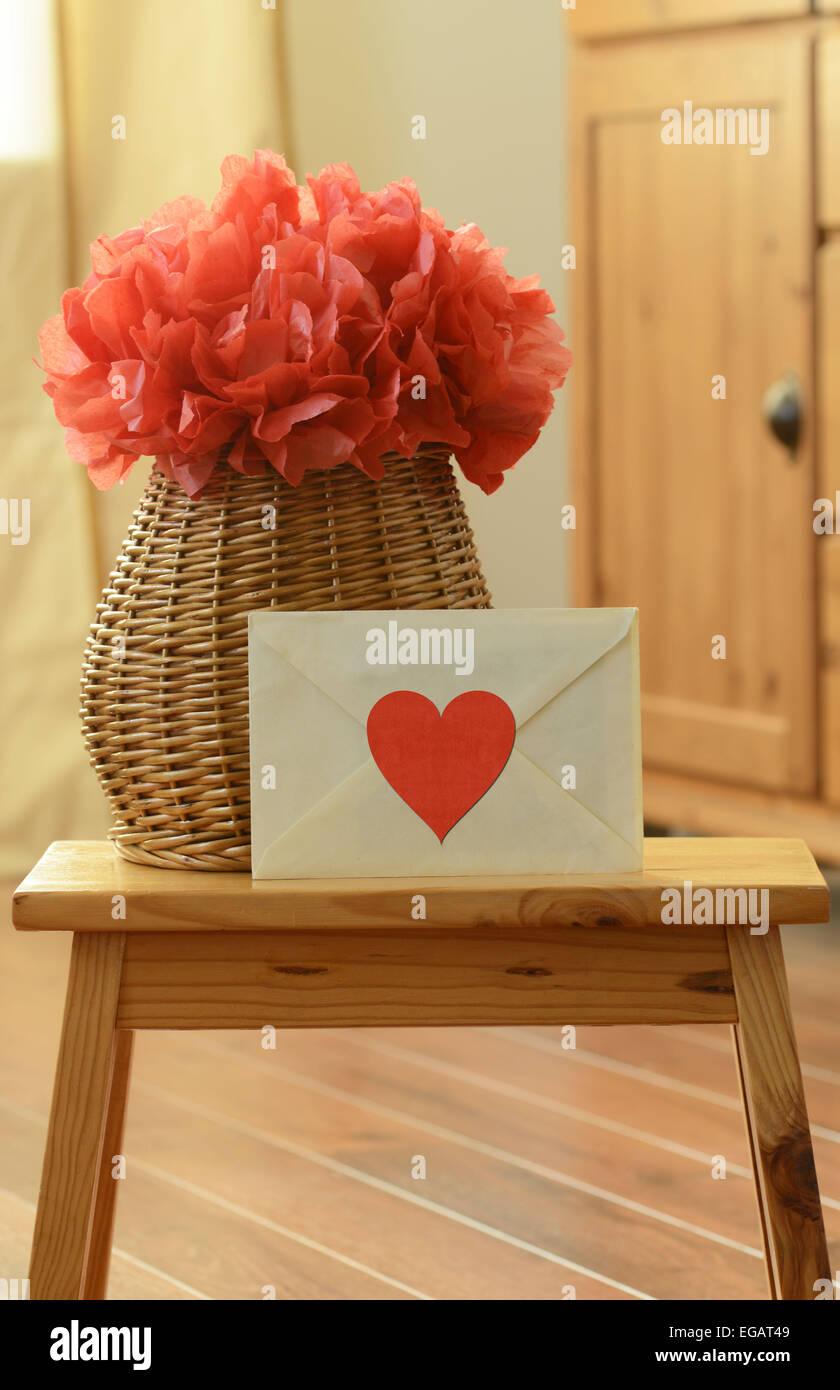 Vase Basket With Red Pom Pom Tissue Paper Flower And Closed Love
