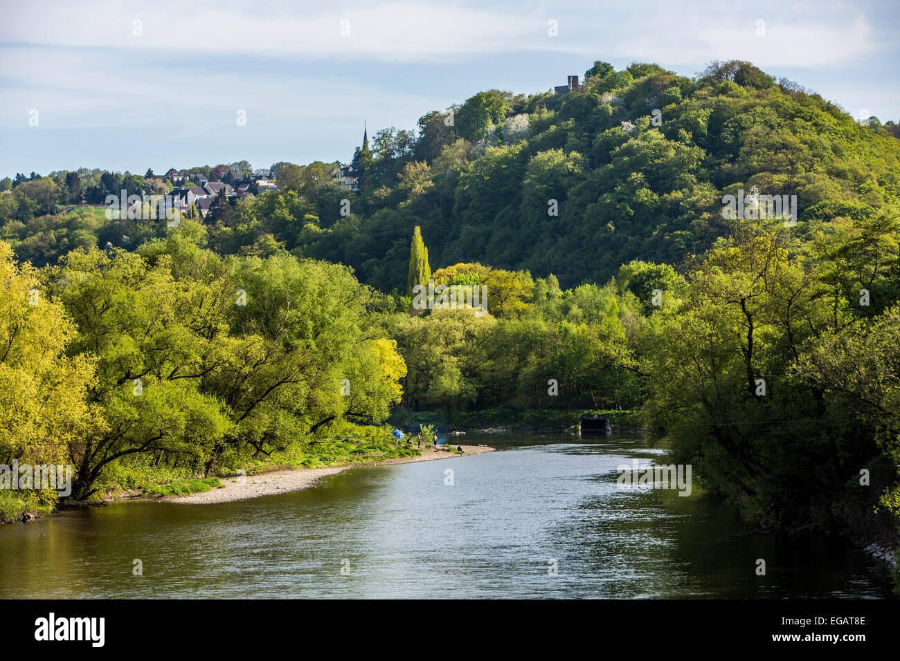 River Ruhr, valley, near Hattingen Blankenstein - Stock Image