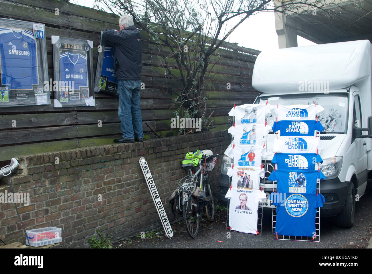 Stamford Bridge London,UK. 21st February 2015. Chelsea football club is under the spotlight for the home match in - Stock Image