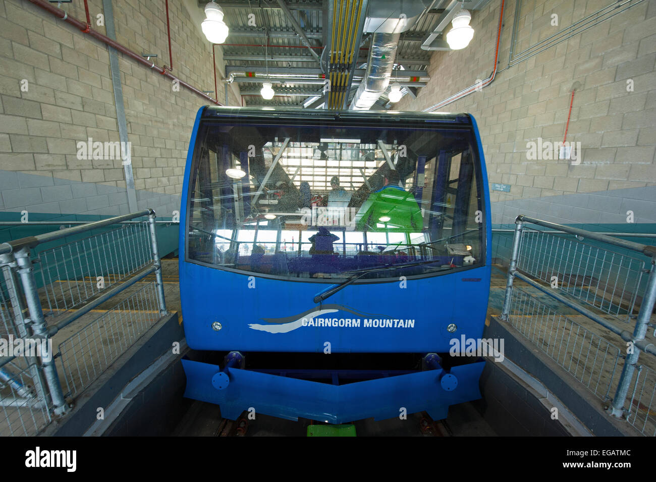 The Cairrngorm Funicular Mountain Railway at the top mountain station ready to depart back To the car park.  SCO - Stock Image