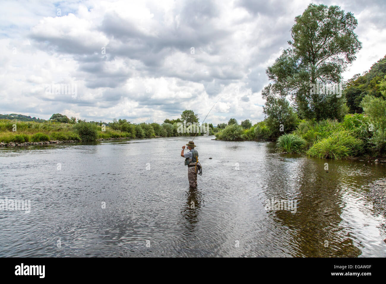 Fly fishing in river Ruhr, Hattingen Germany Stock Photo
