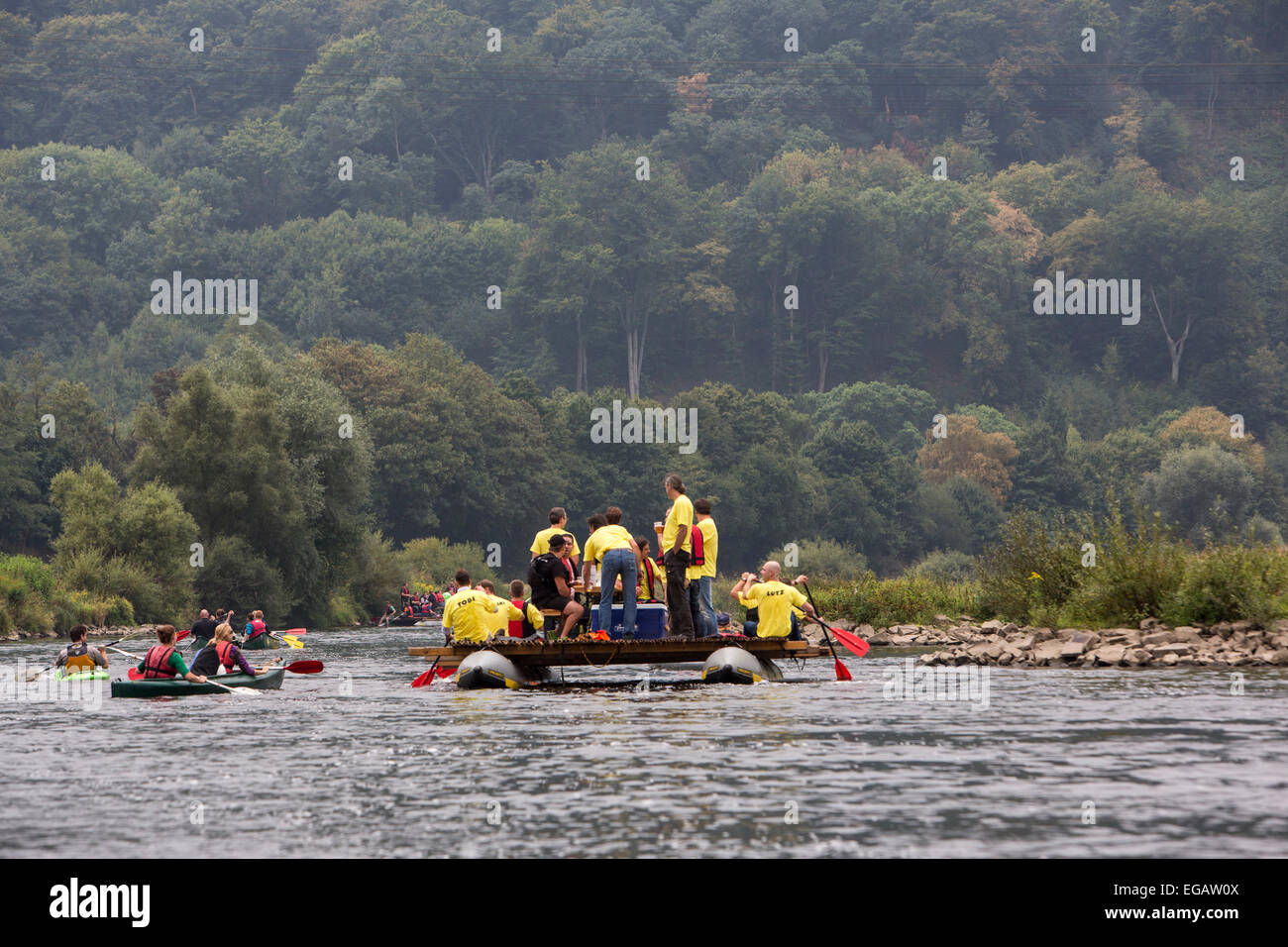 Floats, pleasure, party cruise on river Ruhr, near Hattingen, Germany Stock Photo