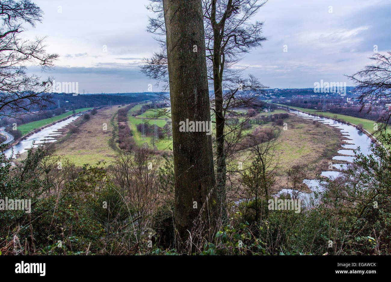 Bend of river Ruhr, in Hattingen Germany - Stock Image