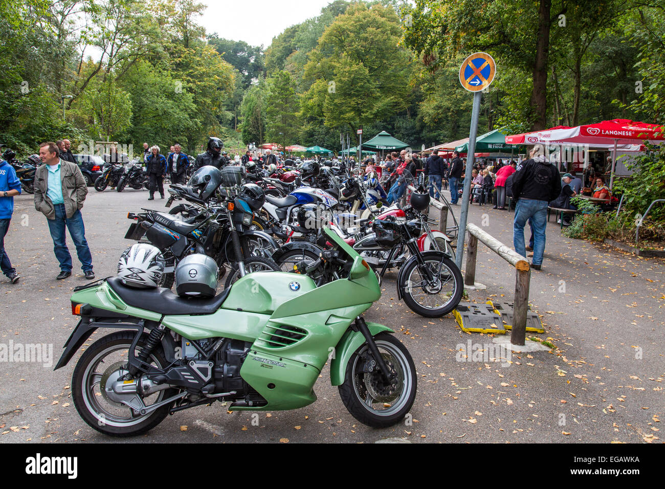 Motorbike hot spot, meeting place for bikers, at river Ruhr, 'Haus Scheppen', Essen, Germany - Stock Image