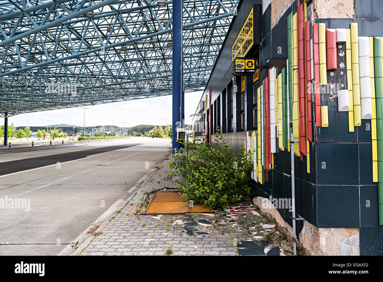 The old border crossing point at Waidhaus from Germany to Czech Republic, now run down derelict and unused - Stock Image