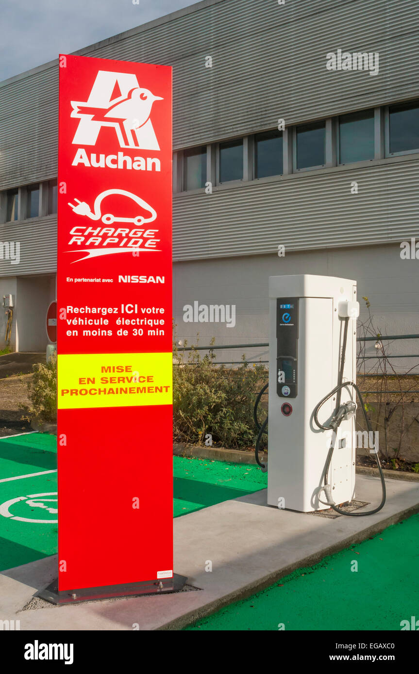 Electric Car Charging Point At Auchan Supermarket
