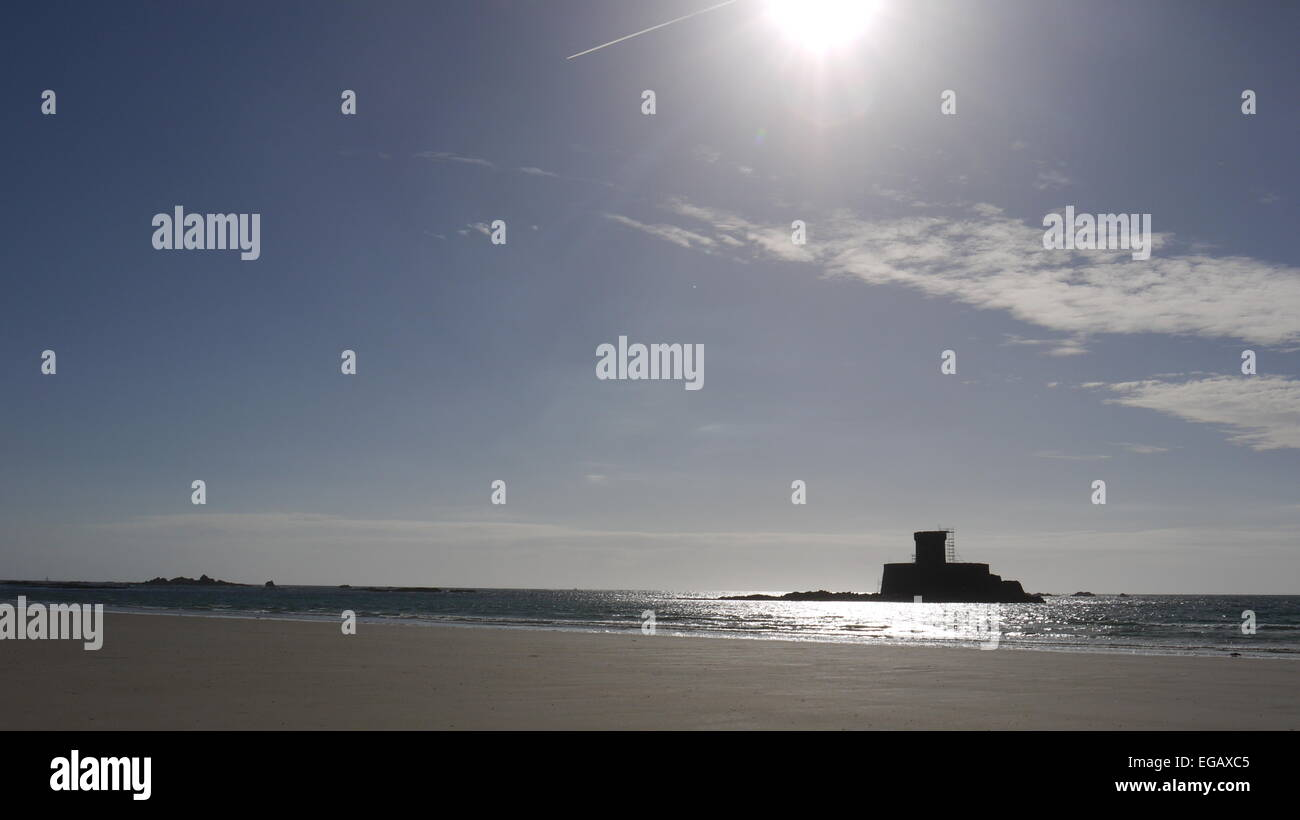 Rocco tower, St Ouens bay, Jersey,  UK - Stock Image