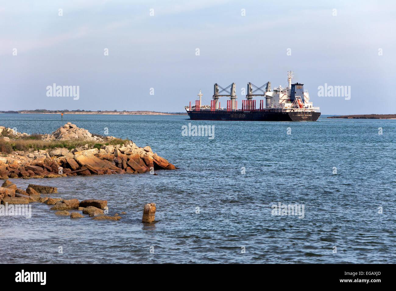 Petroleum Tanker en route,  Corpus Christi Ship Channel. - Stock Image