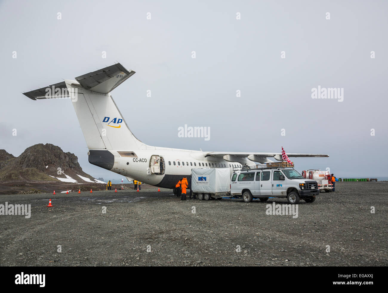BAE 146-200 high wing plane at Frei station, King George Island, Antarctica - Stock Image
