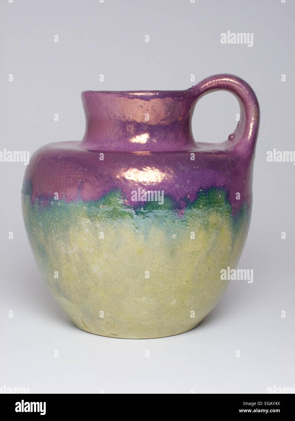 antique Russian Art Pottery lustre jug. Art Nouveau Deco - Stock Image