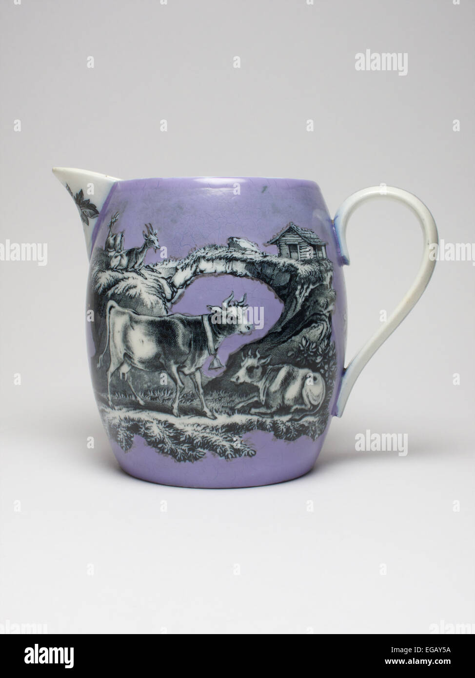 Antique pottery jug. The jug measures 15.5cm high and is apparently unmarked. - Stock Image