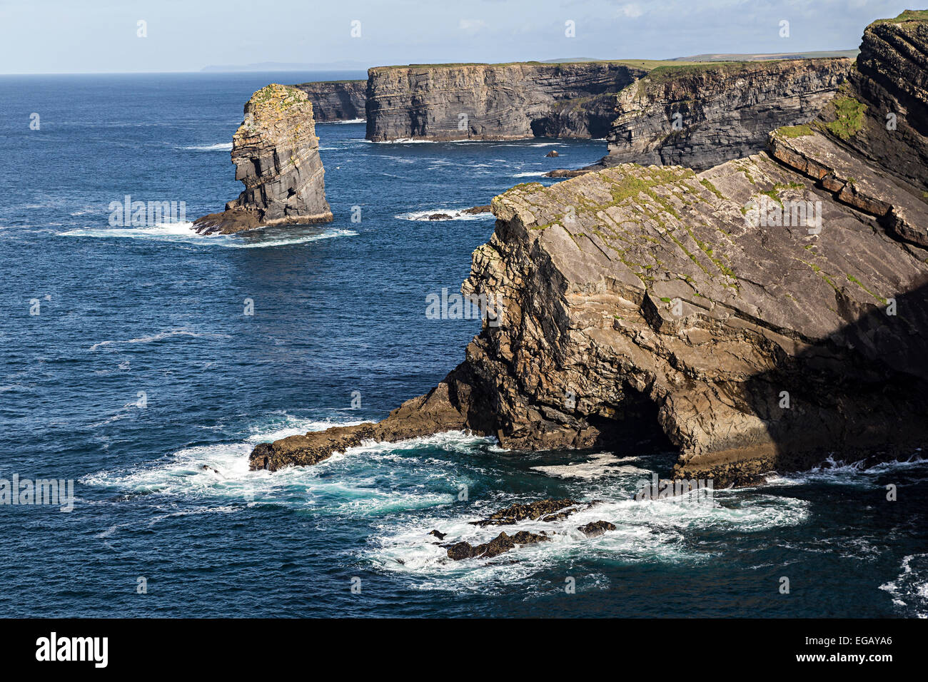 Sea stack on coastal scenic loop head, Co. Clare, west coast of Ireland - Stock Image