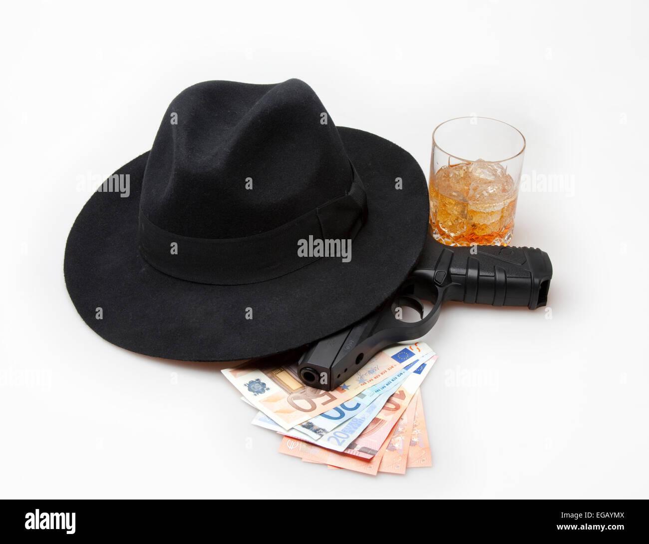Gangster gun loot - Stock Image