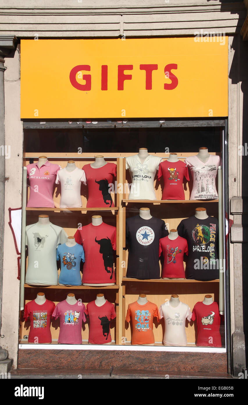 b7b4bc69 T-shirts for sale in window of gift shop in Barcelona, Catalonia, Spain