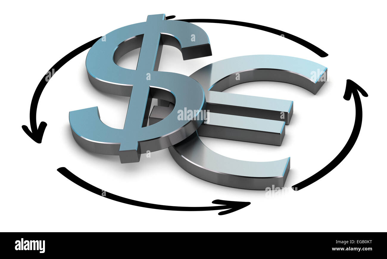 EUR and USD Pair over white background with arrow symbol of exchange - Stock Image