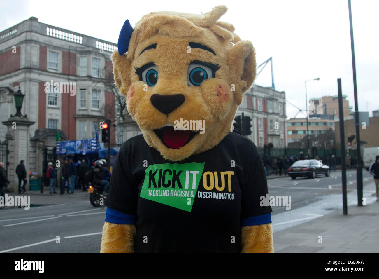 Stamford Bridge London,UK. 21st February 2015. Chelsea mascot wearing Kick It Out racism shirt. Chelsea football - Stock Image
