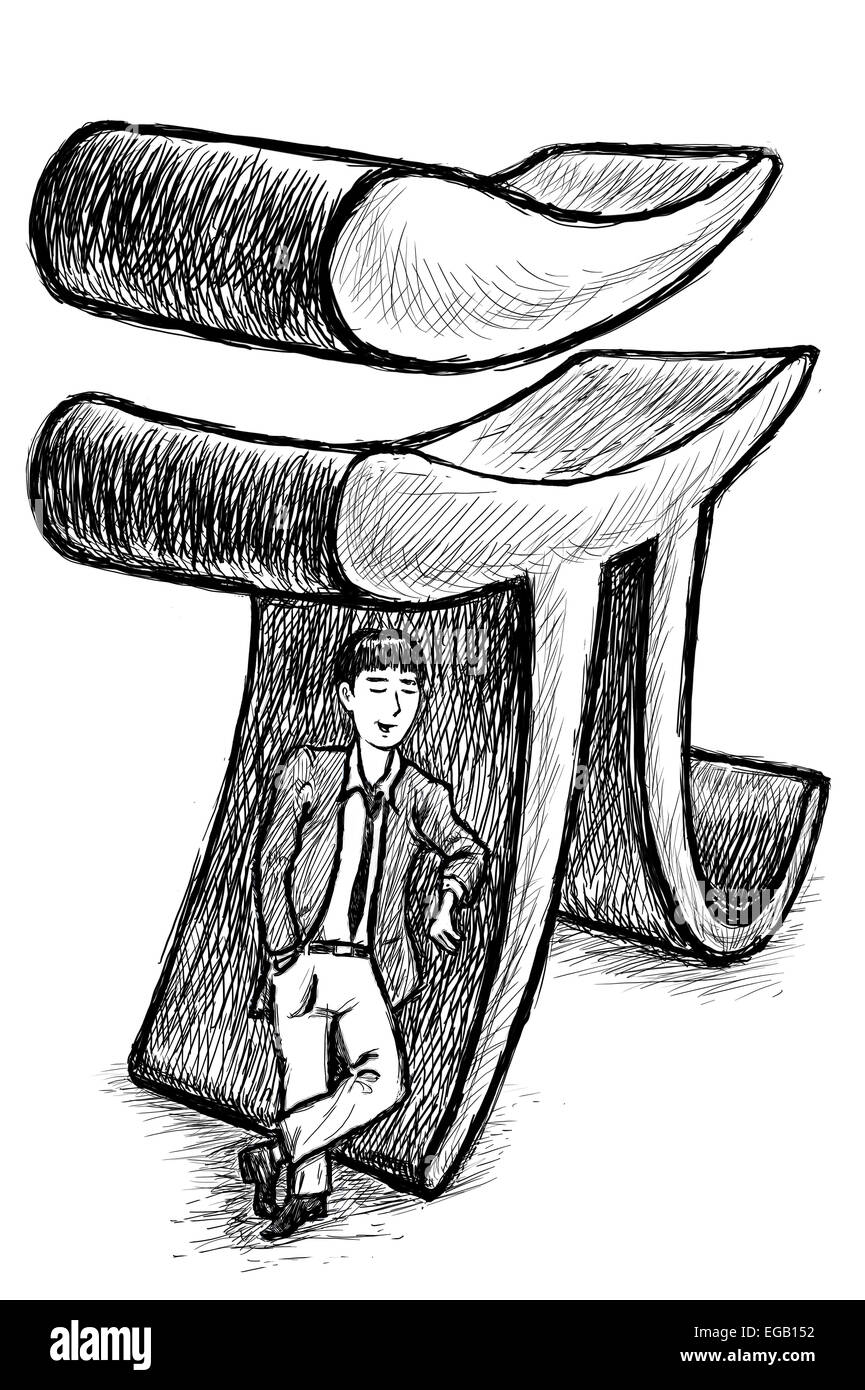 Illustration Of A Businessman And Yuan Chinese Currency Symbol Stock