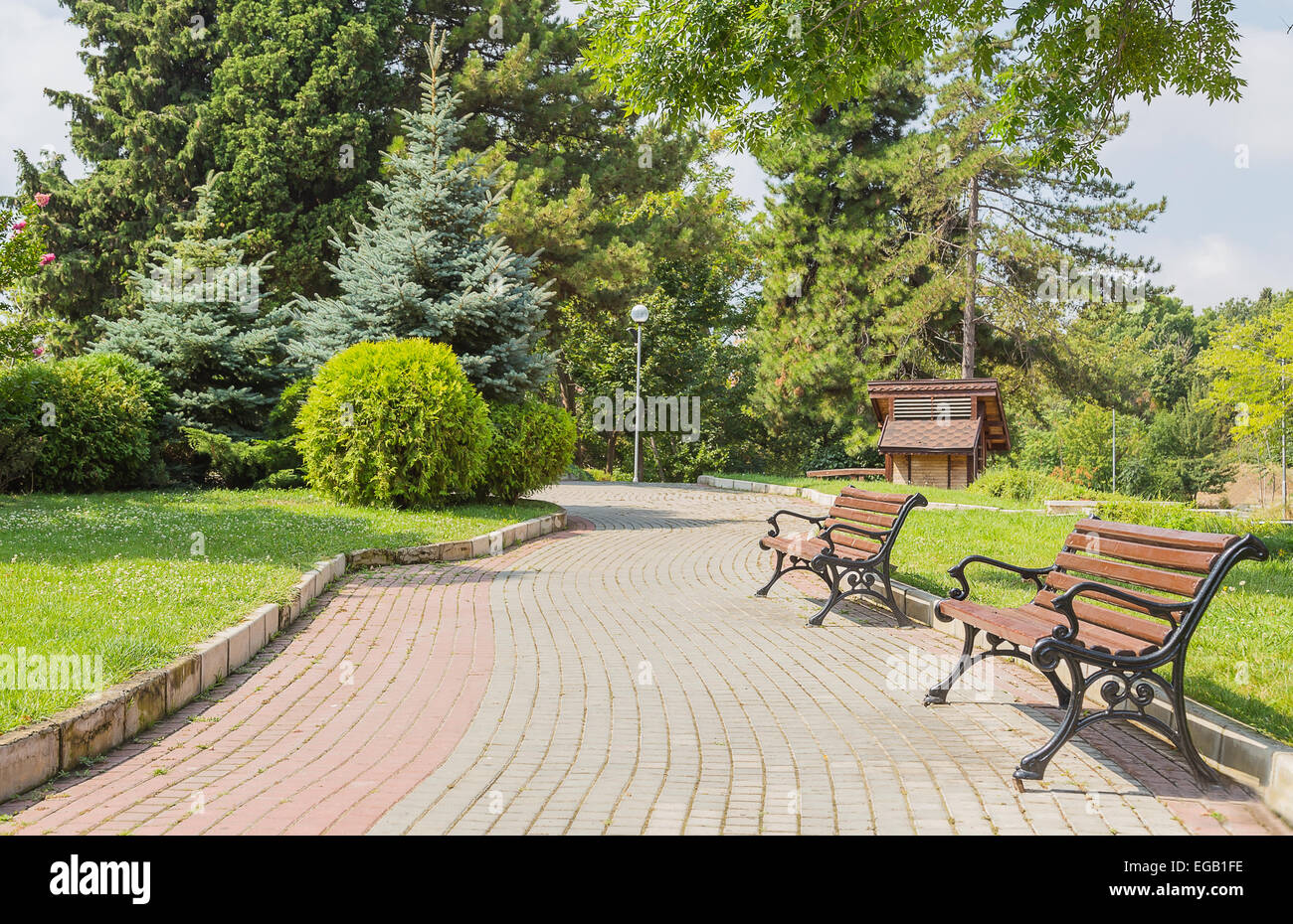 Garden Park Bench Path Pathway Background Stock Photo