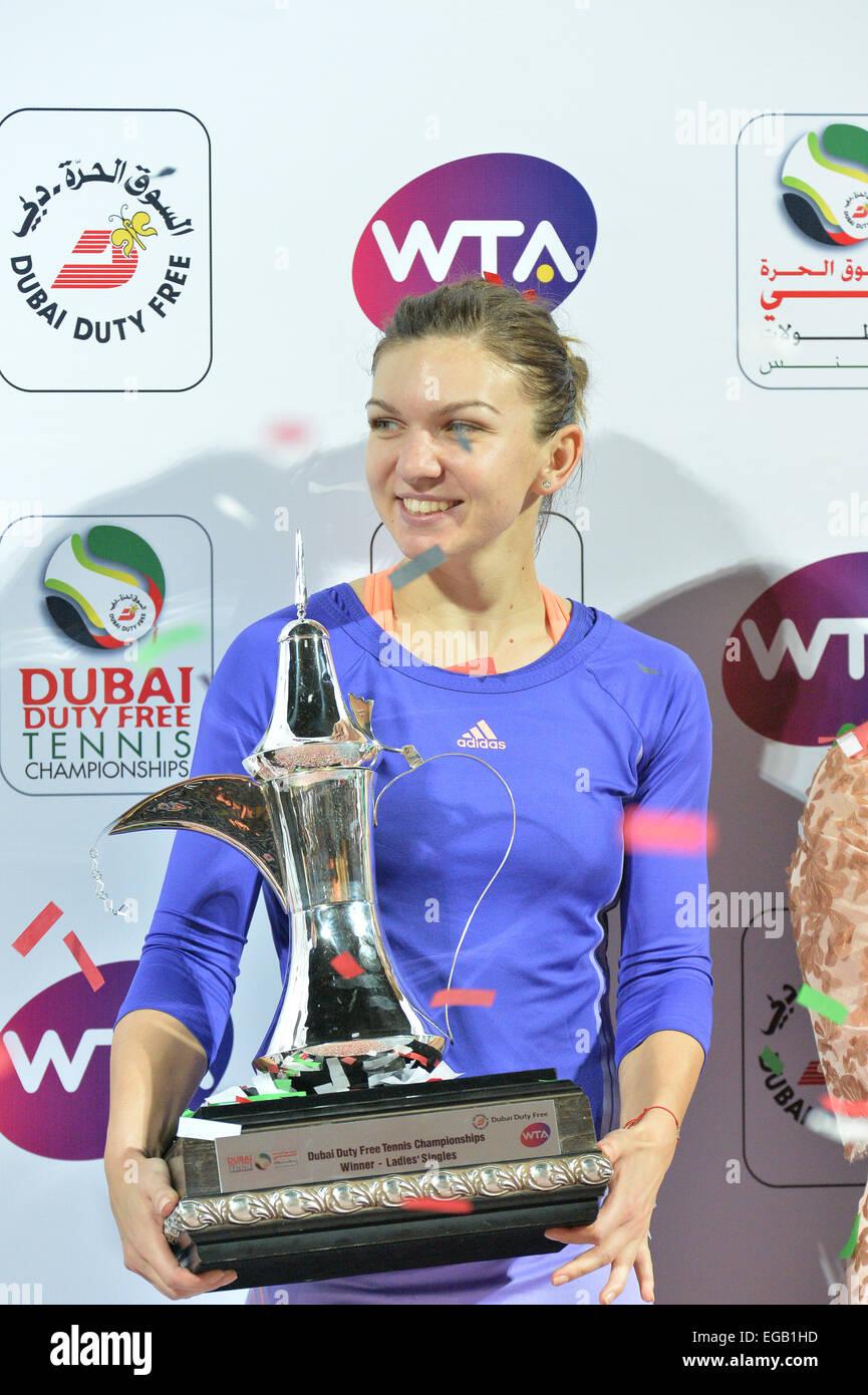 Dubai Uae 21st Feb 2015 Simona Halep Of Romania Holds The Blue Top Winners Trophy Duty Free Wta Tennis Championships Seeded Defeated Her Czech Opponent Karolina