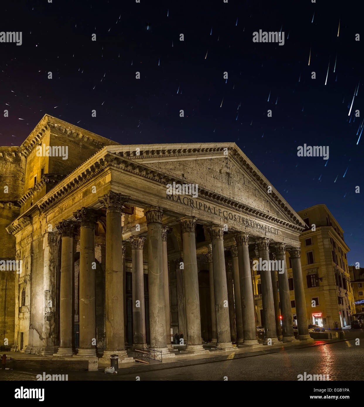 pantheon by night in rome star trails in the sky comets and falling stars Stock Photo