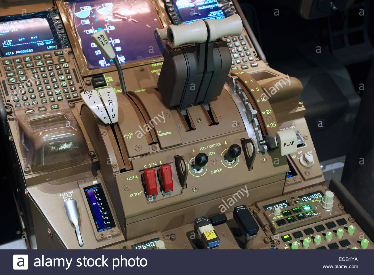 Boeing 777-300ER Full-Motion Simulator Throttle Quadrant Stock Photo