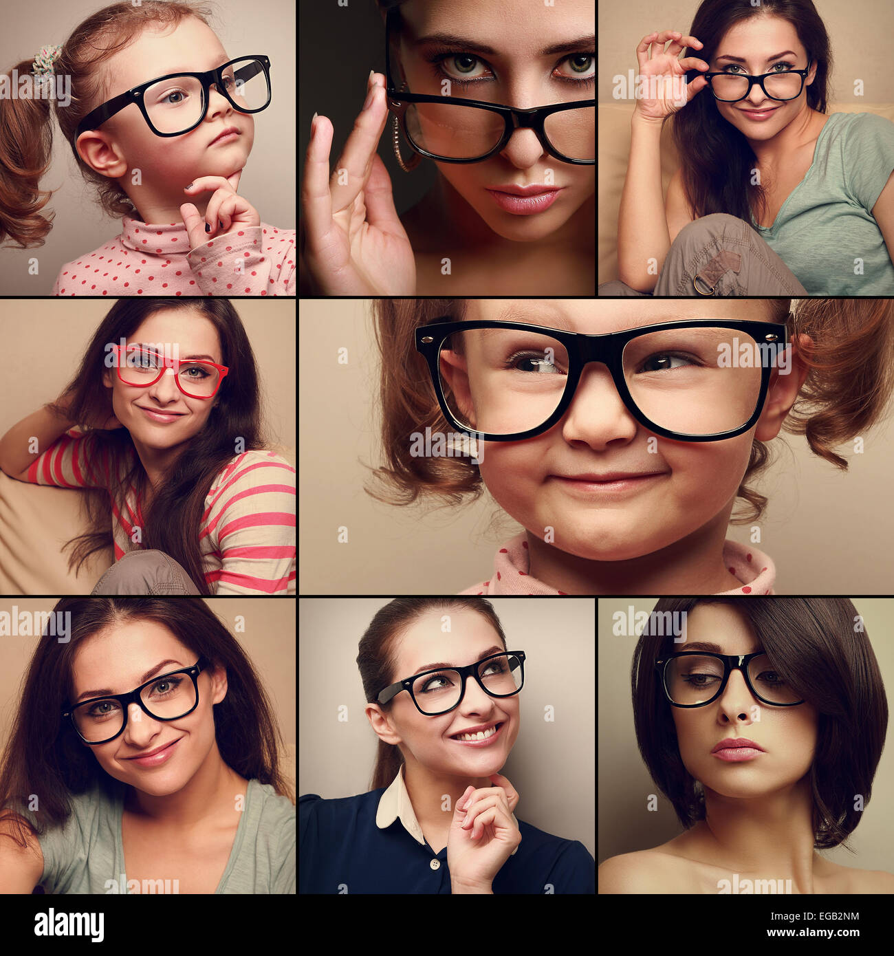 Happy smiling portrait collage collection from people in glasses looking. Fashion style of woman and kid on different - Stock Image