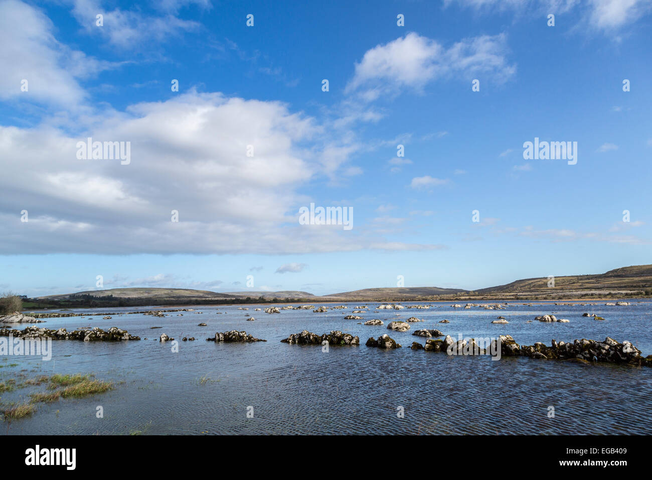 Carran Turlough seasonal flooded fields, Burren, Co. Clare, Ireland - Stock Image