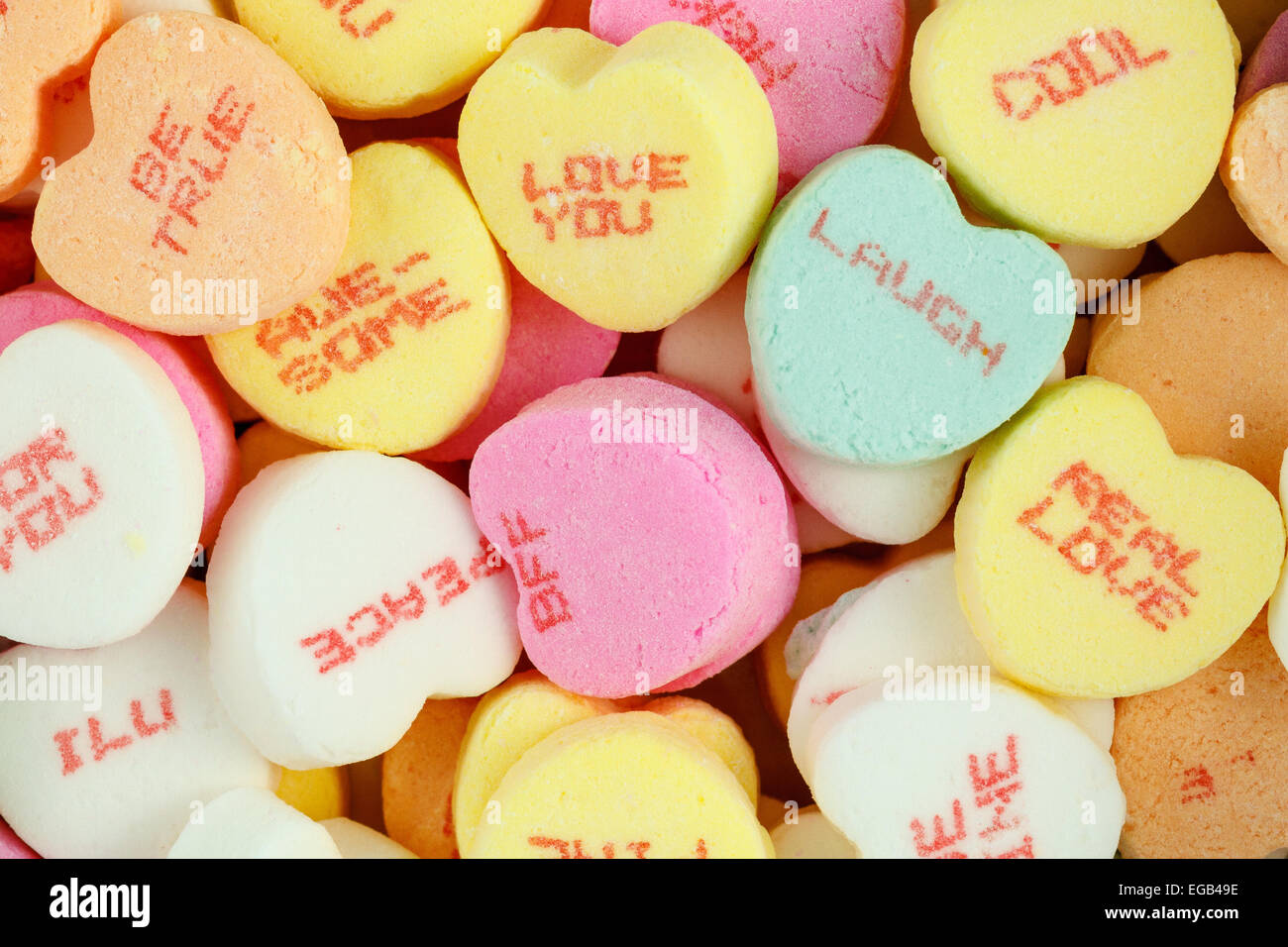 Colorful Conversation Hearts Candy For Valentines Day Stock Photo