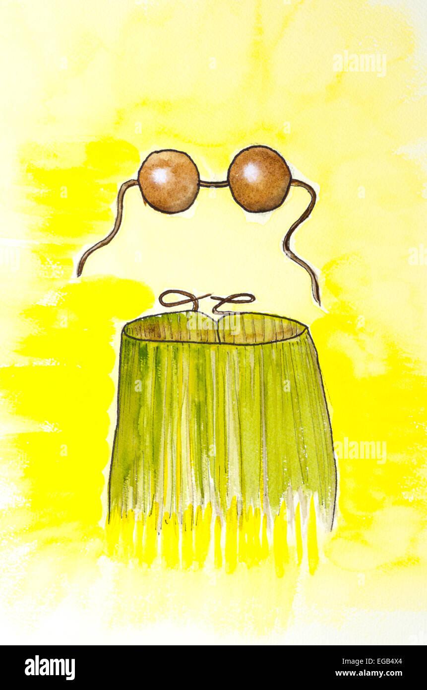 Watercolor, coconuts, hula skirt, grass skirt, Hawaiian - Stock Image