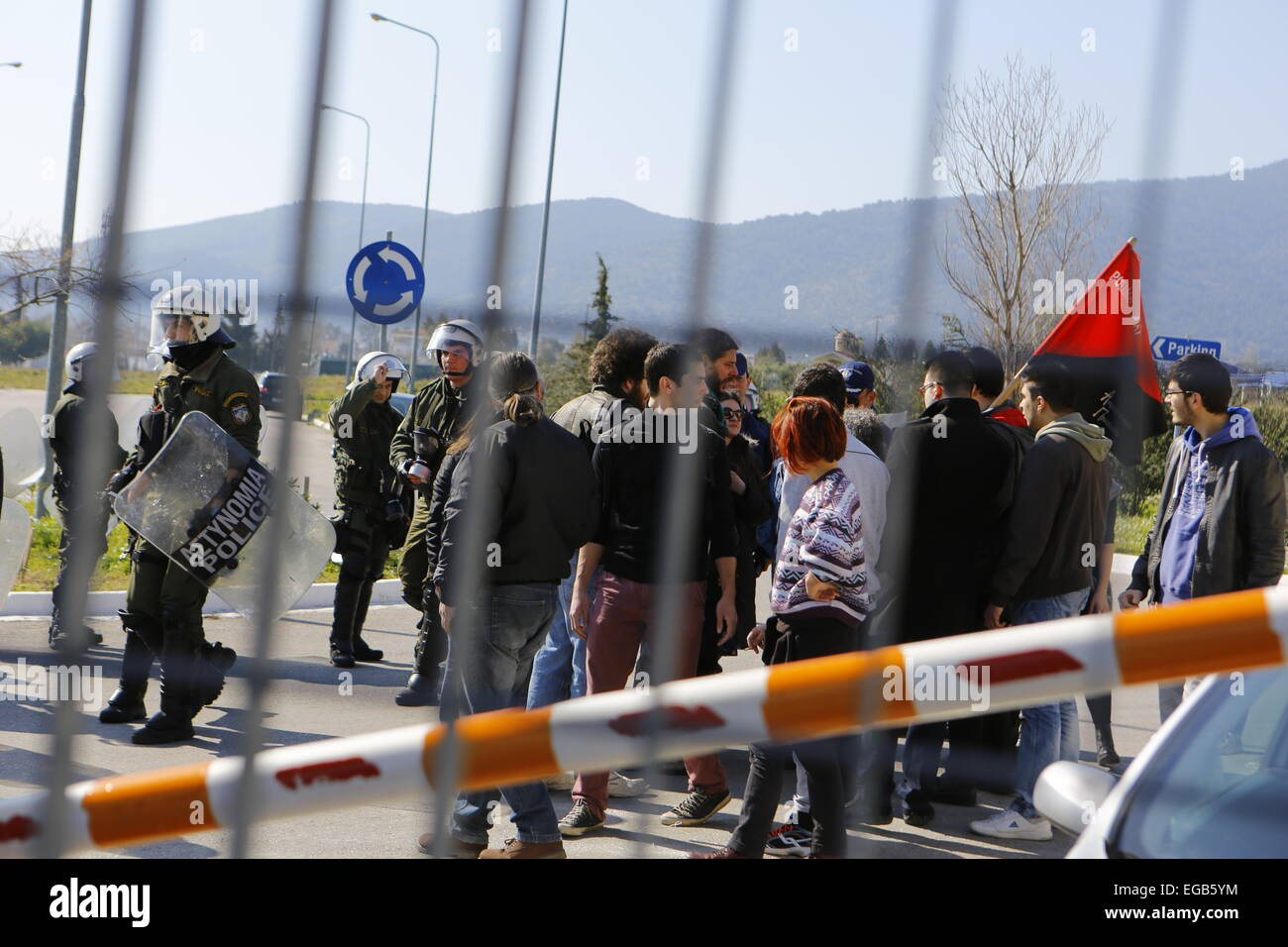 Athens, Greece. 21st February 2015. The last protesters get expelled from the police academy. Minor scuffles between - Stock Image