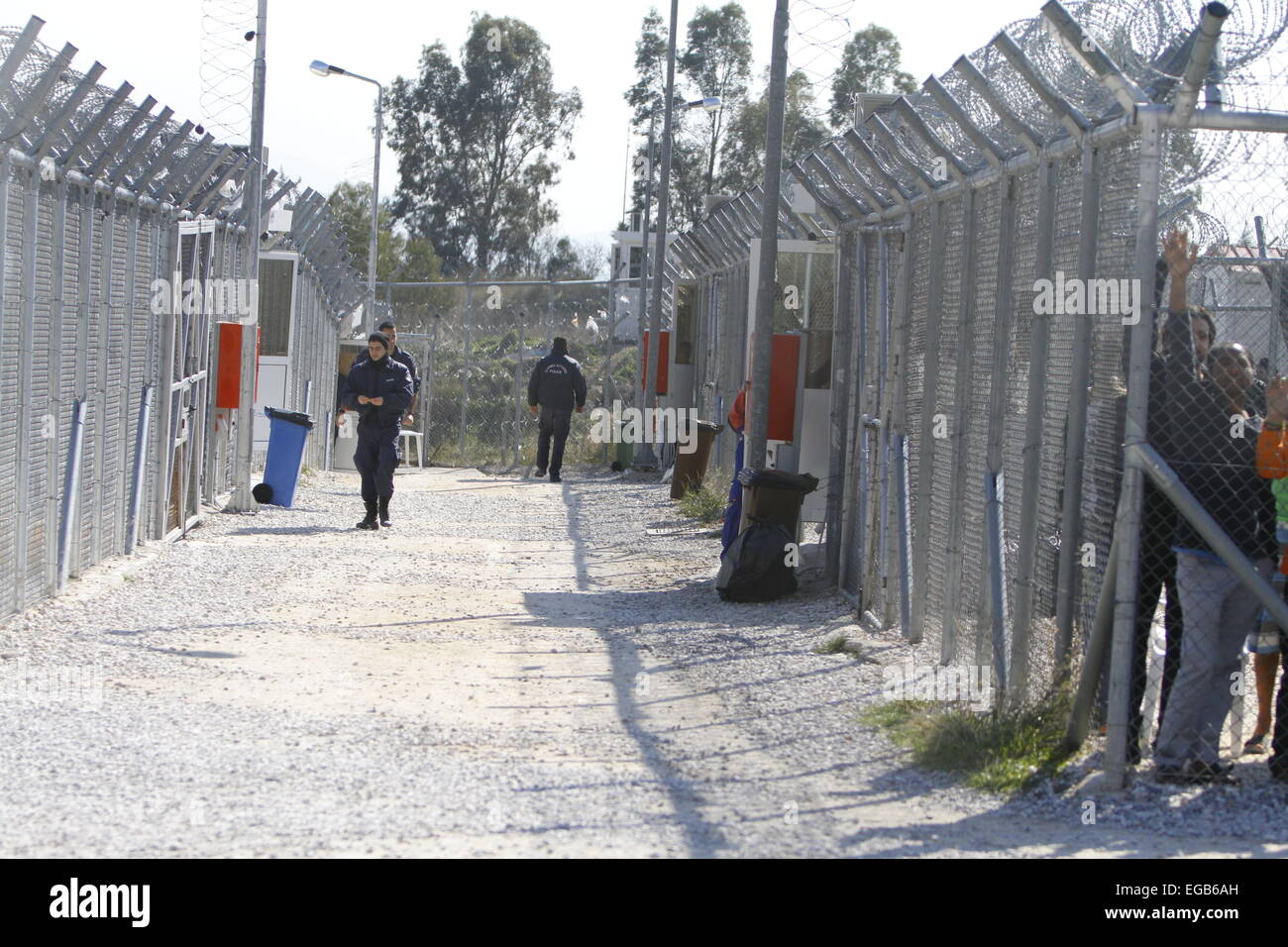 Athens, Greece. 21st February 2015. View into the detention camp with two separated areas. Minor scuffles between - Stock Image