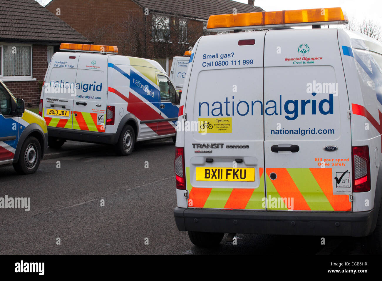 4b14a2f412fc National Gas Incident Emergency vehicles. A fleet of National Grid Vans  with associated engineers at the Windy Harbour Road and Garstang New Road  near the ...