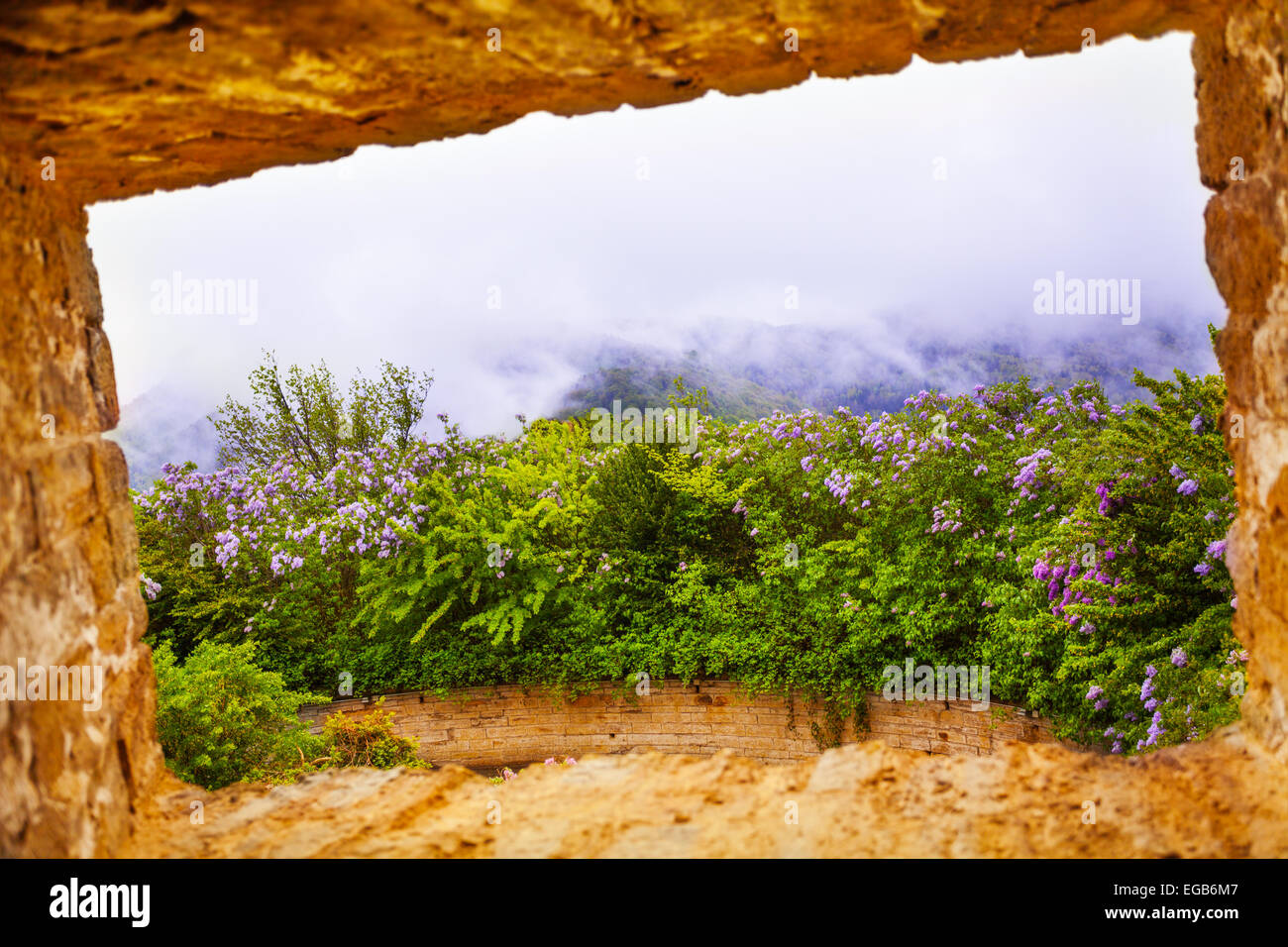 View from stoned window of Hohenzollern castle - Stock Image
