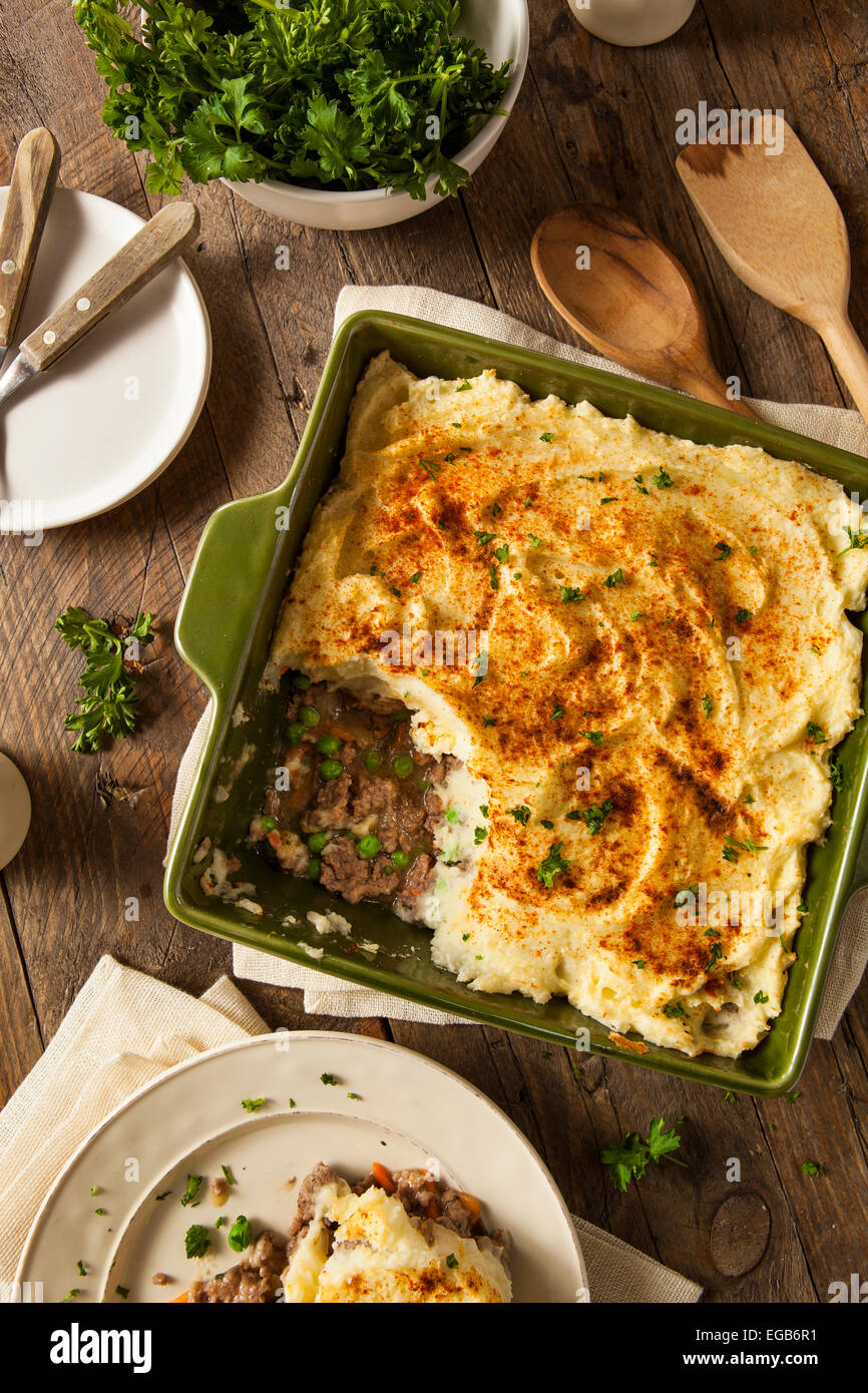 Homemade Irish Shepherd's Pie with Lamb and Potatoes - Stock Image