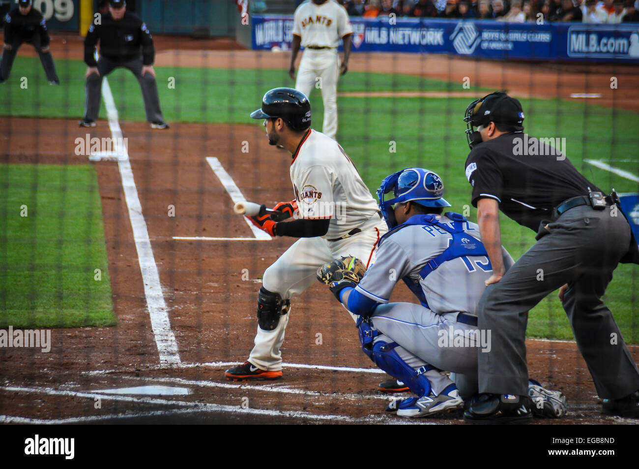 2014 World Series game between the San Francisco Giants and the Kansas City Royals at AT&T Park. Gregor Blanco - Stock Image